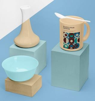 위에 숟가락으로 모형 컵 무료 PSD 파일