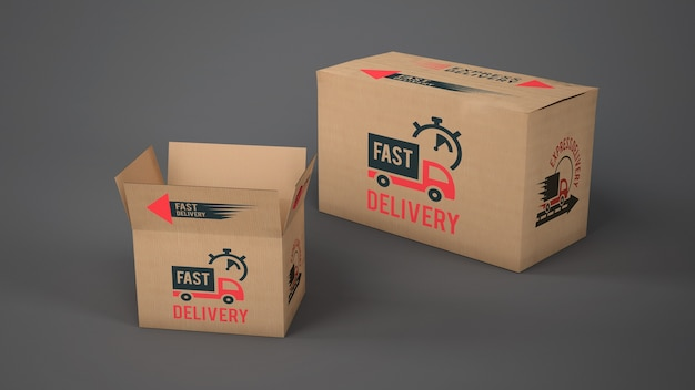 Mockup of delivery boxes of different sizes