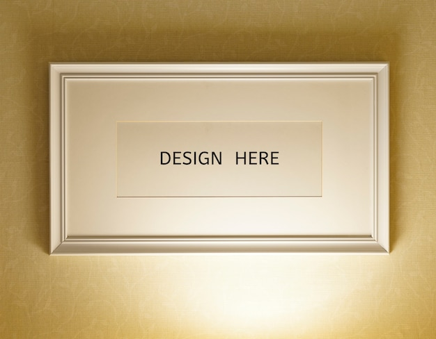 Mockup design here sign old wood frame and wall texture photo