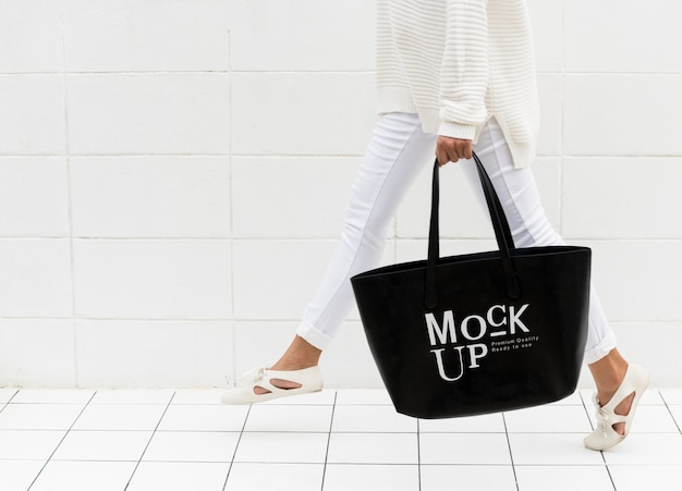 Mockup design space on blag tote bag