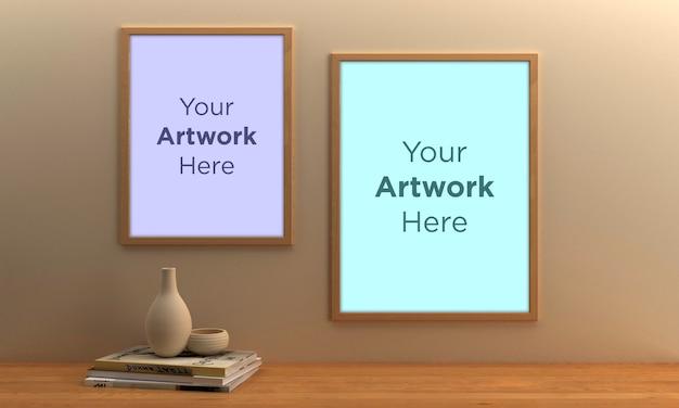 Две пустые рамки для фотографий mockup design