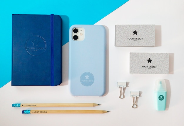 Mockup - desktop with corporate stationery items