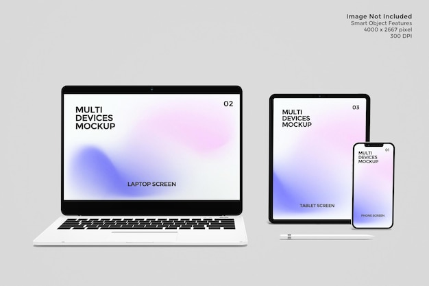 Mockup devices screen in 3d rendering