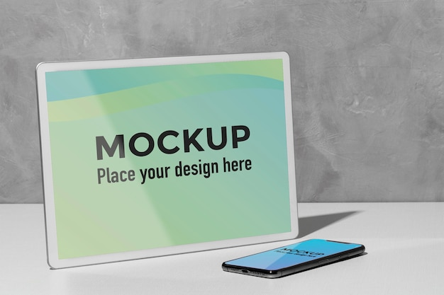 Mockup devices on the table