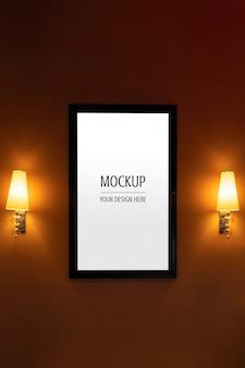 Mockup of display frame movie poster cinema light box