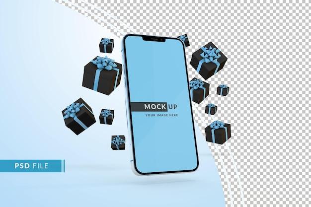 모형 디스플레이 iphone 시에라 블루 선물 상자가 있는 사이버 먼데이 개념