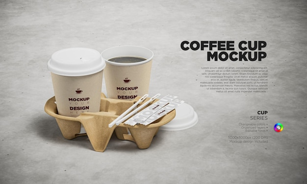 Mockup disposable paper cups with holder and plastic mixing stirring sticks