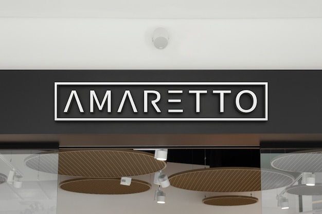 Mockup of elegant indoor white 3d logo sign at the storefront in the shopping centre or mall