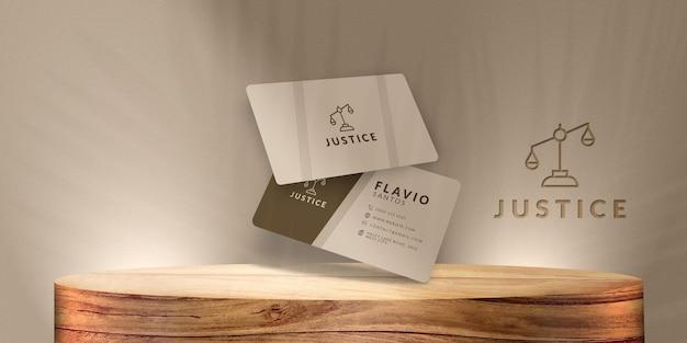 Mockup elegant logo business card  template wood luxo