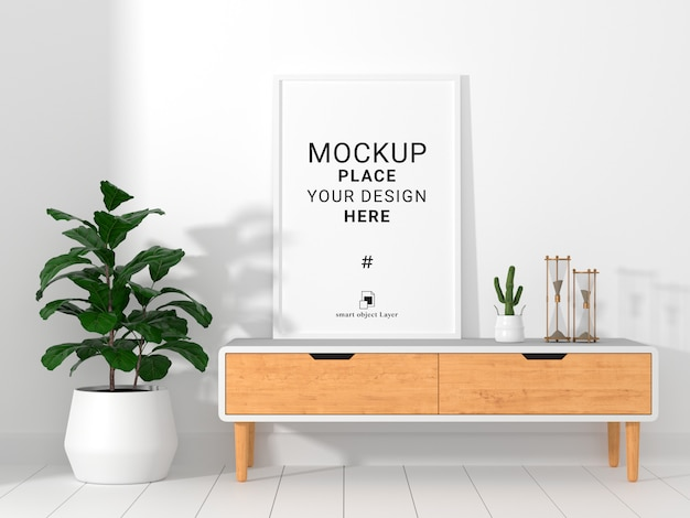 Mockup of empty photo frame in living room