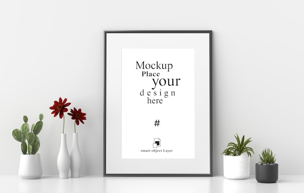 Mockup empty photo frame with plant pot