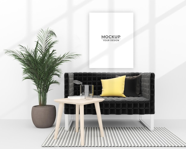 Mockup empty poster near sofa and potted plant