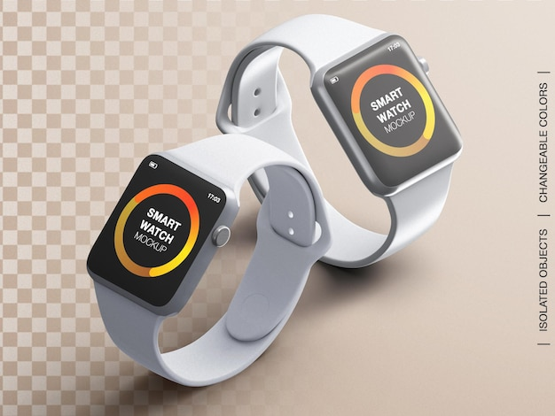 스마트 워치 장치 화면 인터페이스 앱 디자인 프레젠테이션의 모형 피트니스