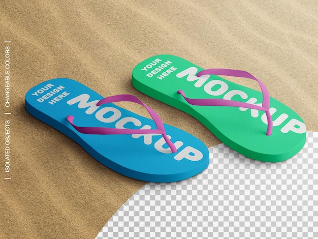 Mockup of flip flop beach slippers on sand isometric isolated