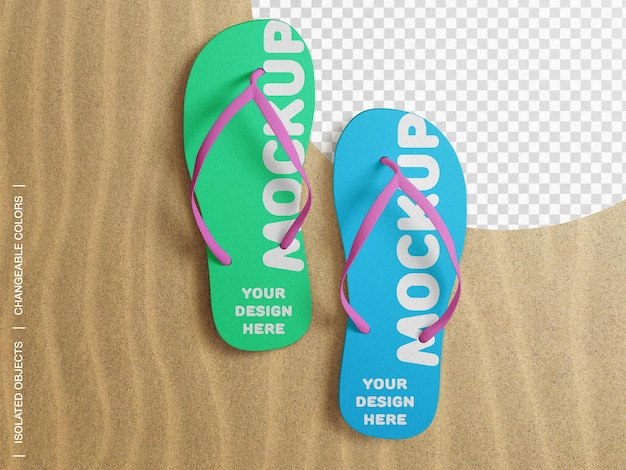 Mockup of flip flop beach slippers on sand top view isolated