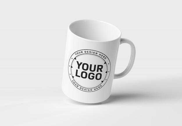 A mockup of a floating mug on white background