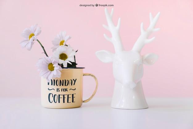 Mockup of flowers and deer statue