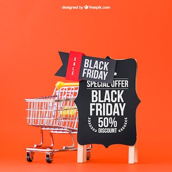 Mockup for black friday with cart next to board