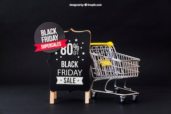 Mockup for black friday with cart