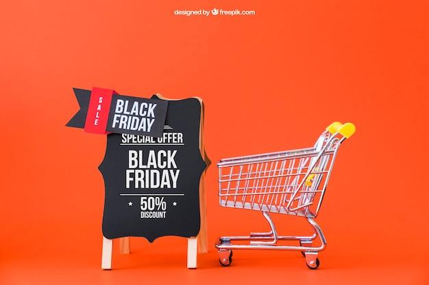 ショッピングカートで黒金曜日のモックアップ