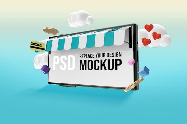 온라인 쇼핑을위한 스마트 폰 화면 모형