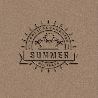 Mockup for summer logo on texture