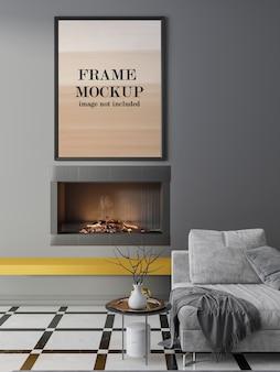 Рамка макета над камином на серой стене