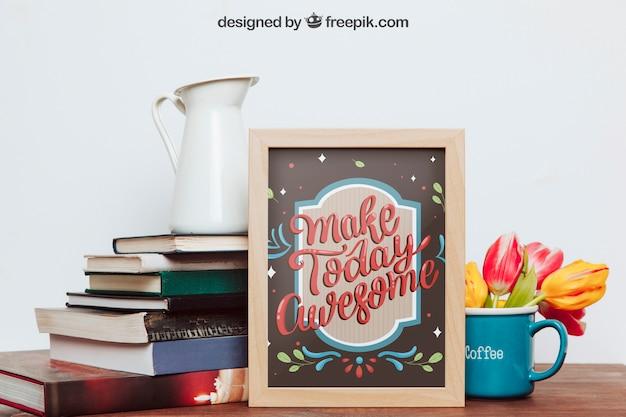 Mockup di frame, libri e mug