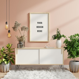 Mockup frame on cabinet in living room interior,scandinavian style,3d rendering