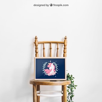 Mockup of frame on chair