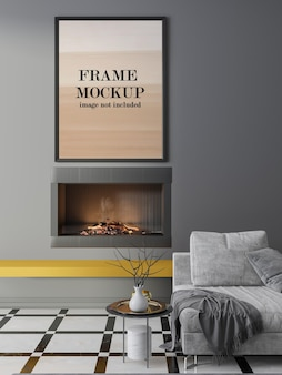 Mockup frame above fireplace on grey wall