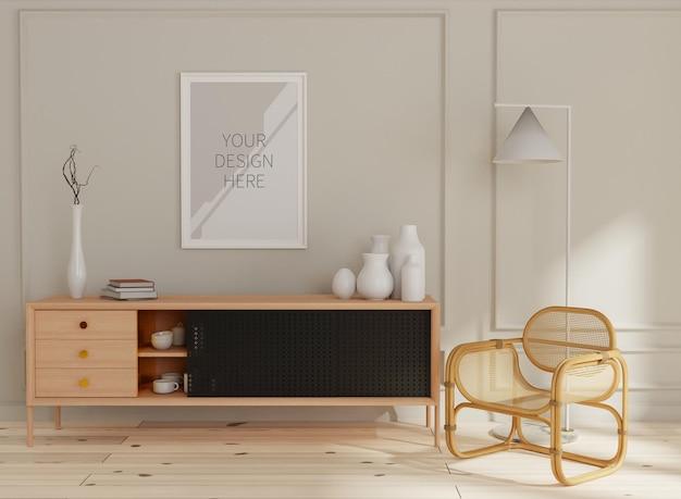 Mockup frame in home interior rendering