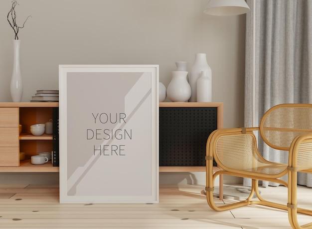 Рамка макета в рендеринге домашнего интерьера