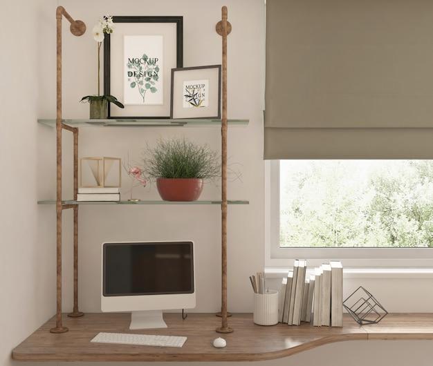 현대 열대 스터디 룸의 모형 프레임