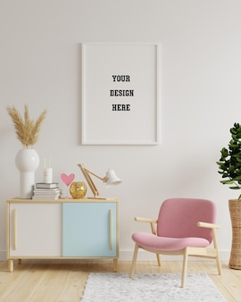 Mockup frame in living room interior