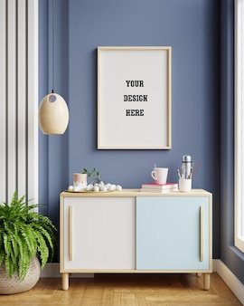 진한 파란색 거실 인테리어, 스칸디나비아 스타일, 3d 렌더링 캐비닛에 모형 프레임