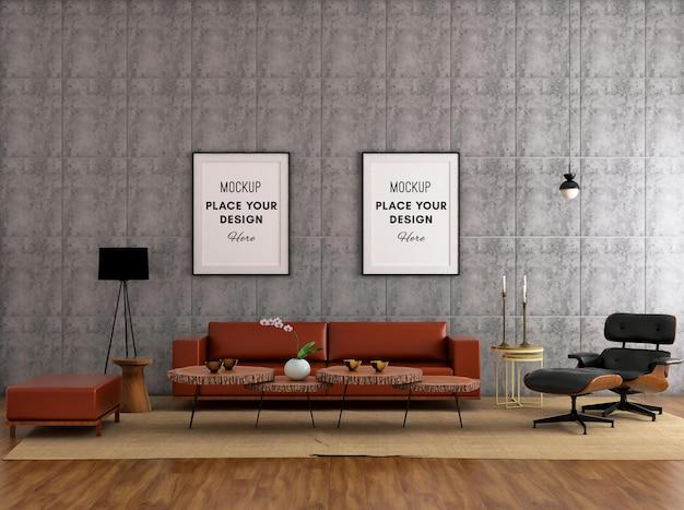 Рамка для макета на бетонной стене с уютным кожаным диваном