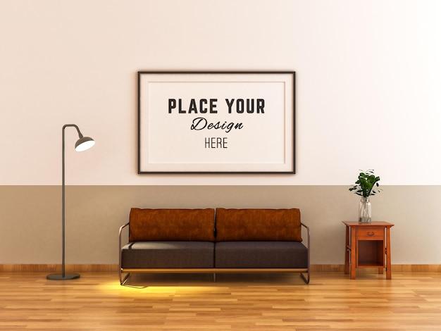 Рамка для макета на стене с бежевым тоном в минималистском стиле гостиной 3d-рендеринга