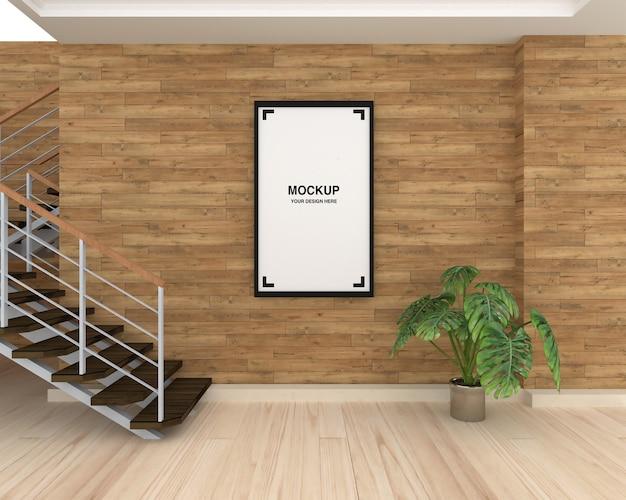 Рамка макета на деревянной стене