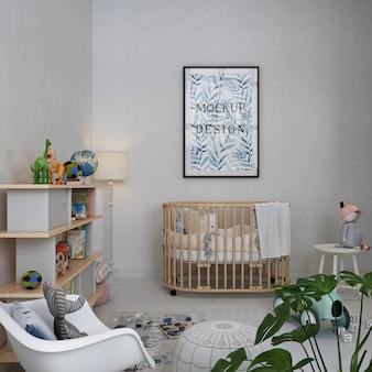 Mockup frame photo in shooting nursery room