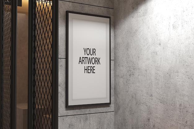 Макет рамки плаката в дизайне интерьера промышленного помещения с рисунком линии цементной стены и проволочной сеткой