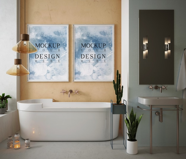 Макет рамки плаката в современной и роскошной ванной комнате