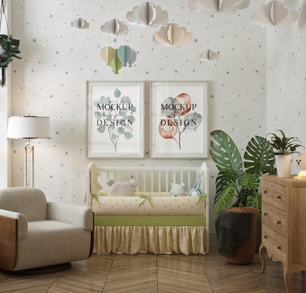 현대 고전적인 아기의 침실에있는 모형 프레임 포스터