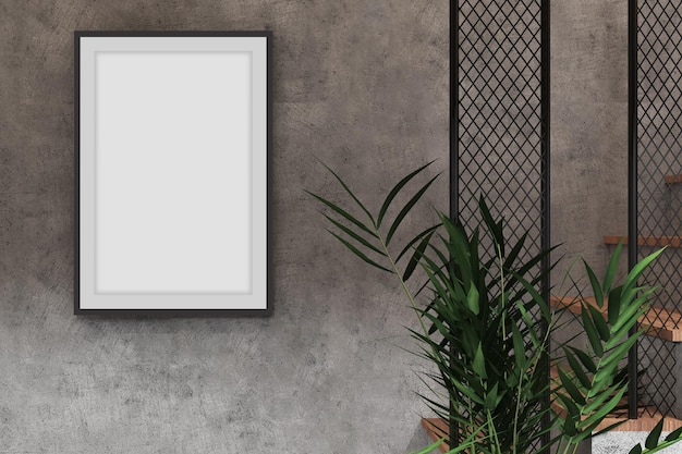 Mockup frame poster in industrial room interior design with cement wall texture and plant