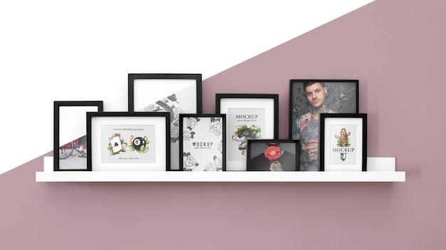 Mockup frame on shelf