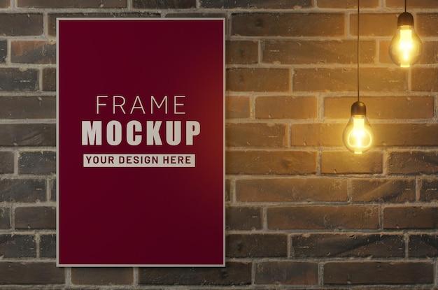 レンガの壁とランプのモックアップ フレーム