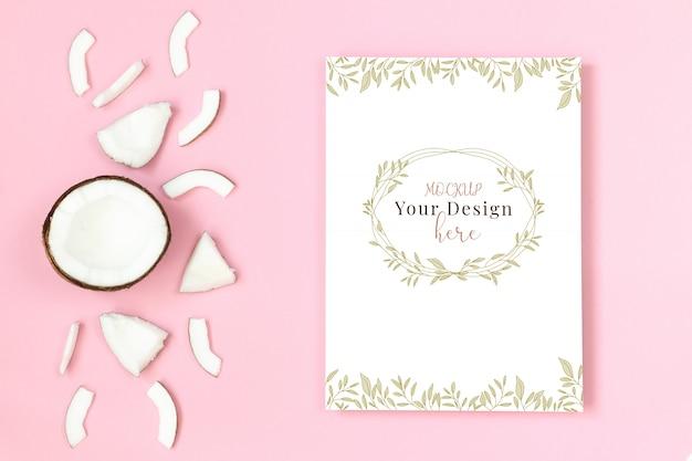 Рамка макета с кокосом на розовом фоне