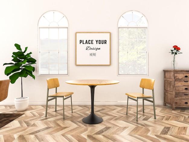 Рама макета с деревянными стульями в гостиной