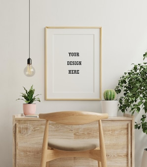 Mockup frame on wooden table in living with plants