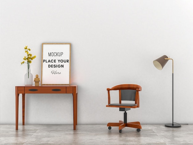 Mockup frame on wooden table with white wall